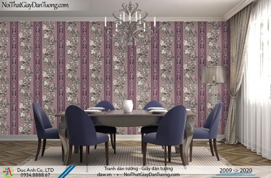 Art Deco | Giấy dán tường sọc bông, những bông hoa leo tường tạo thành giấy sọc bông hoa màu tím | Giấy dán tường Art Deco 8260-3