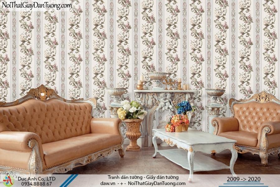 Art Deco | Giấy dán tường sọc bông, những dây hoa leo tạo thành những đường sọc | Giấy dán tường Art Deco 8260-1