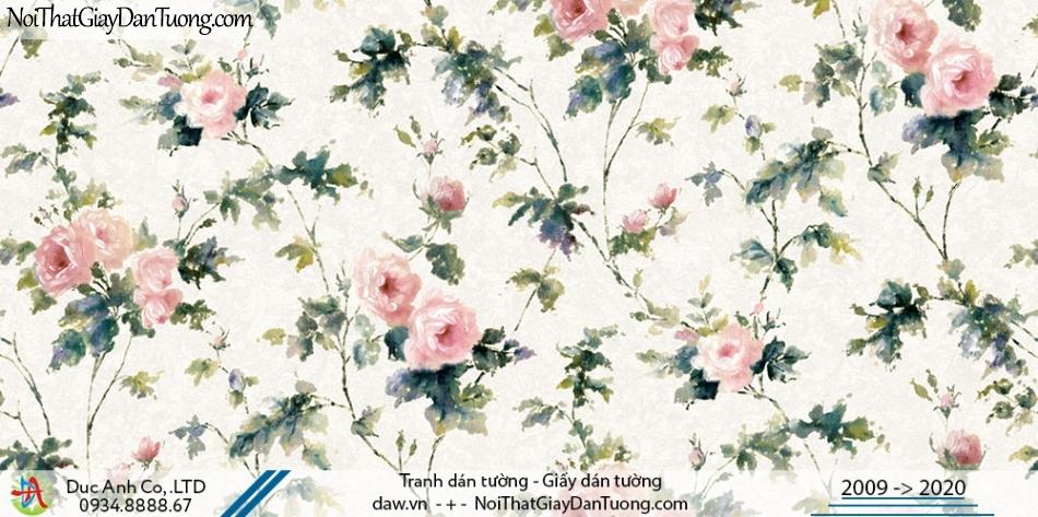 Art Deco | Giấy dán tường cành hoa leo, kiểu hoa hồng pháp | Giấy dán tường Hàn Quốc Art Deco 8263-1