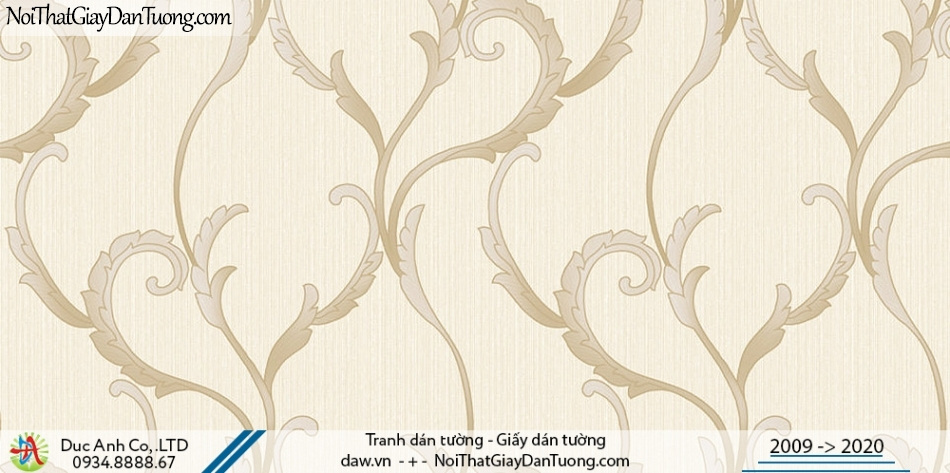 Art Deco | Giấy dán tường dây leo tường, dây lá leo màu vàng | Giấy dán tường Hàn Quốc Art Deco 8257-2