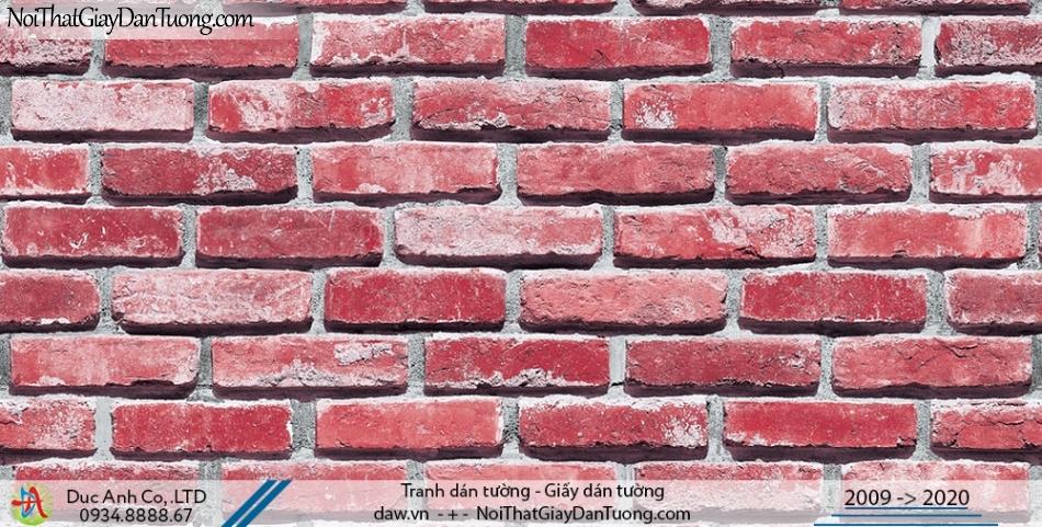 Art Deco | Giấy dán tường giả gạch màu đỏ, giấy gạch 3D, màu đỏ đô | Giấy dán tường Hàn Quốc Art Deco 8267-4