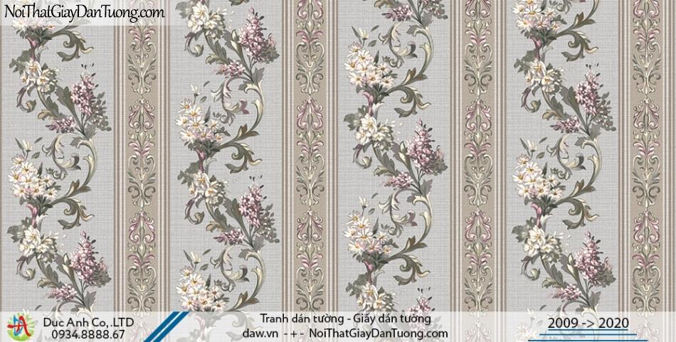 Art Deco | Giấy dán tường hình hoa dây leo dạng sọc, giấy sọc bông hoa đẹp | Giấy dán tường Hàn Quốc Art Deco 8260-2