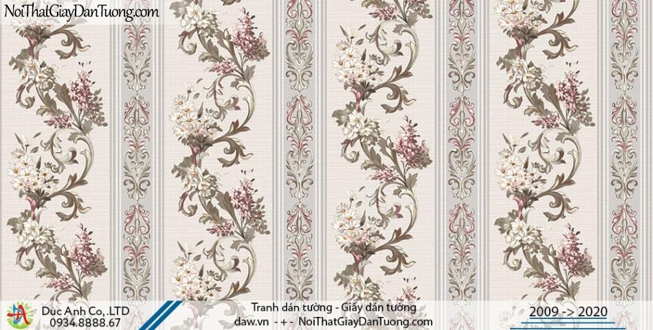 Art Deco | Giấy dán tường hoa dây leo dạng sọc, sọc bông, sọc hoa | Giấy dán tường Hàn Quốc Art Deco 8260-1