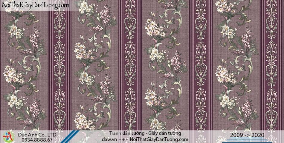 Art Deco | Giấy dán tường hoa văn dây leo tường dạng sọc, giấy sọc bông hoa màu đỏ | Giấy dán tường Hàn Quốc Art Deco 8260-3