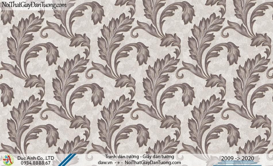 Art Deco | Giấy dán tường những chiếc lá to, lá lớn màu xám đen | Giấy dán tường Hàn Quốc Art Deco 8259-3
