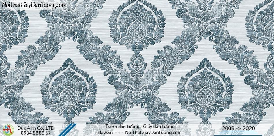 Art Deco | Giấy dán tường hoa to, họa tiết cổ điển màu xanh dương, xanh nhạt | Giấy dán tường Hàn Quốc Art Deco 8271-3