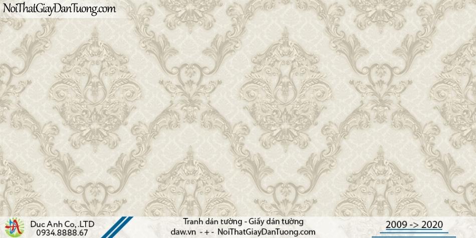 CASSIA | Giấy dán tường cổ điển màu xám bạc, họa tiết lớn, hoa văn to | Giấy dán tường Cassia 8651-1
