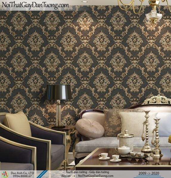 CASSIA | Giấy dán tường cổ điển màu đen, màu vàng, sang trọng | Giấy dán tường Cassia 8651-3
