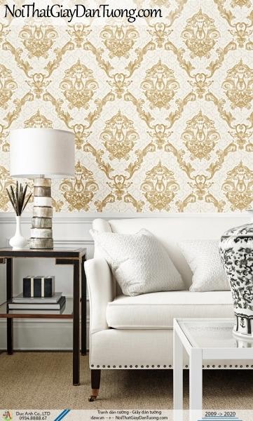CASSIA | Giấy dán tường cổ điển màu vàng, họa tiết hình ca rô lớn | Giấy dán tường Cassia 8651-2