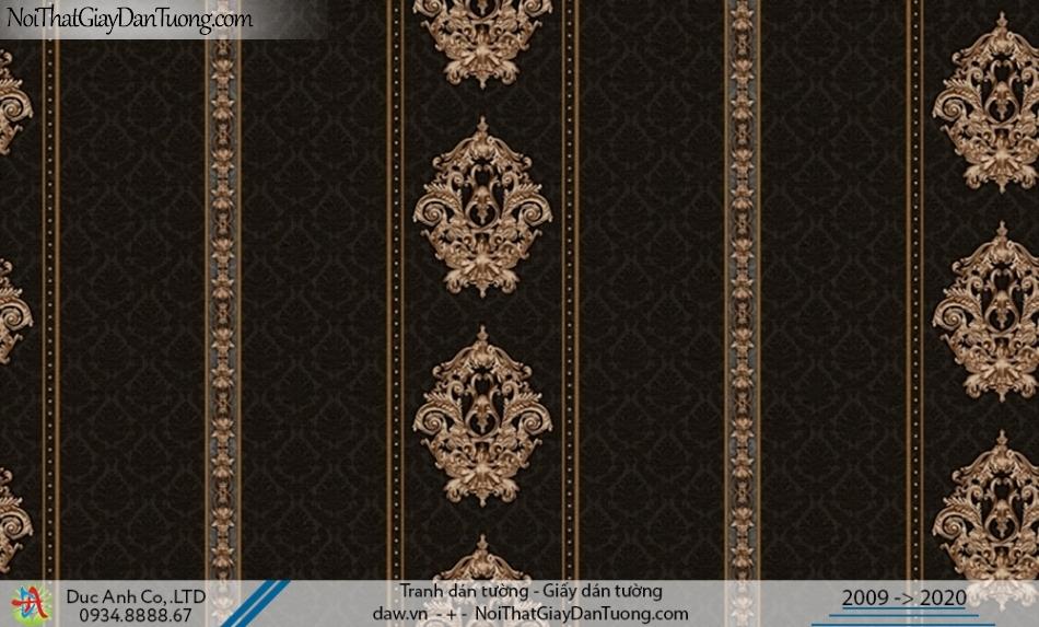 CASSIA | Giấy dán tường dạng sọc màu đen, nền đen hoa văn vàng đồng| Giấy dán tường Cassia 8652-3