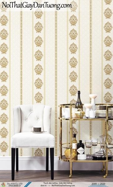 CASSIA | Giấy dán tường dạng sọc màu vàng kem, sọc hoa văn họa tiết cổ điển | Giấy dán tường Cassia 8652-2