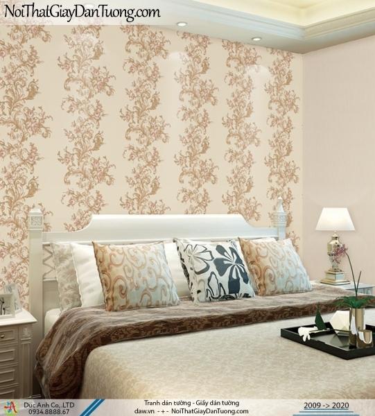 CASSIA |Giấy dán tường hoa dây leo sọc xuôi màu vàng | Giấy dán tường Cassia 8656-1