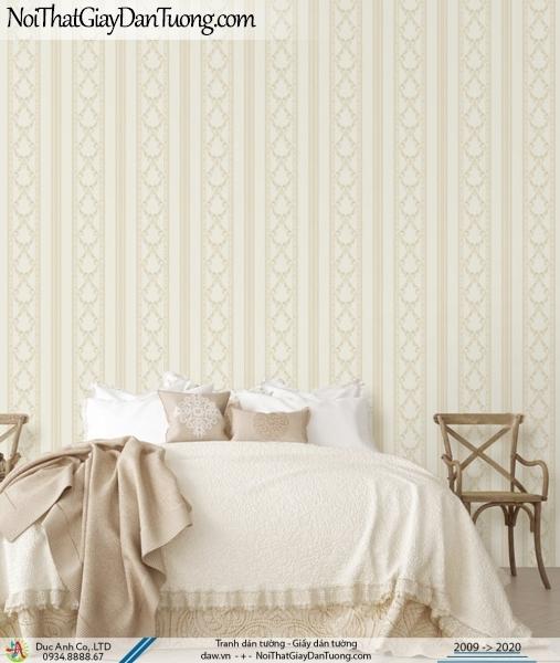 CASSIA |Giấy dán tường sọc hoa văn màu vàng kem | Giấy dán tường Cassia 8655-2