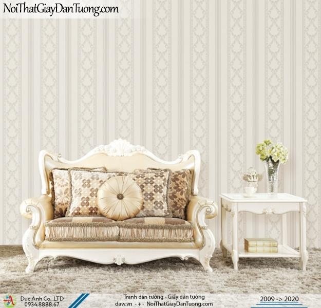 CASSIA |Giấy dán tường sọc, sọc hoa văn to màu xám | Giấy dán tường Cassia 8655-1