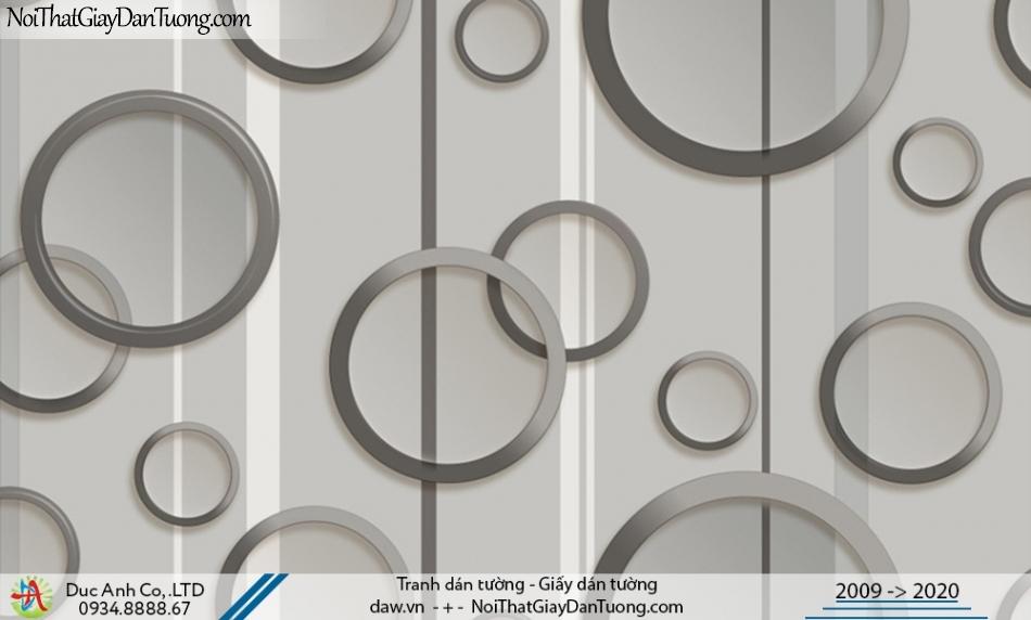 CASSIA | Giấy dán tường 3D, những hình tròn to nhỏ màu xám, màu ghi | Giấy dán tường Cassia 8665-1