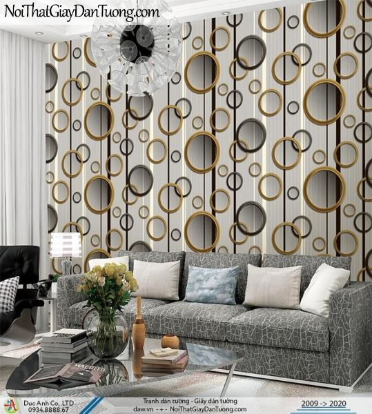 CASSIA | giấy dán tường 3D, những vòng tròn treo đều trên tường màu xám xanh | Giấy dán tường Cassia 8665-3
