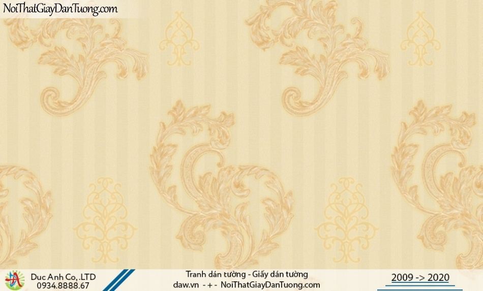 CASSIA | giấy dán tường bông rơi màu vàng, họa tiết cổ điển | Giấy dán tường Cassia 8674-2