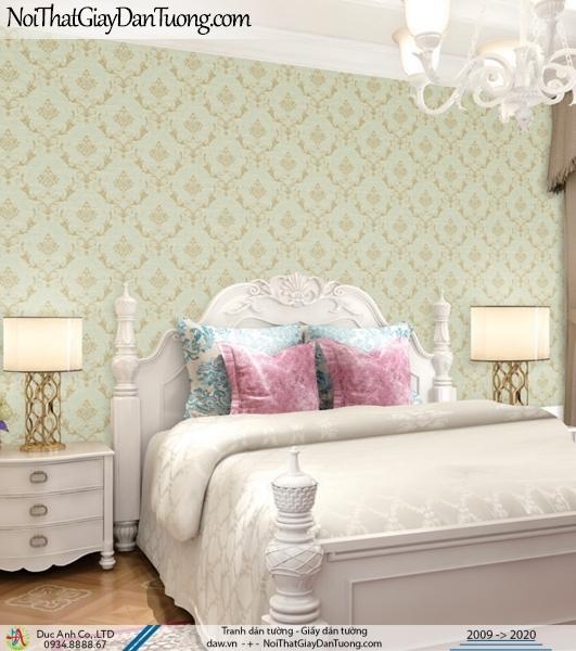 CASSIA |giấy dán tường cổ điển màu xanh lá cây, xanh cốm, xanh ngọc | Giấy dán tường Cassia 8701-3