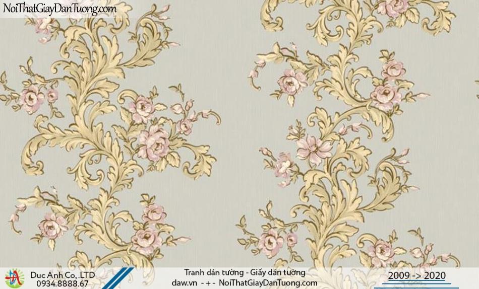 CASSIA | Giấy dán tường dây leo, hoa leo tường màu xám xanh, màu vàng| Giấy dán tường Cassia 8656-3