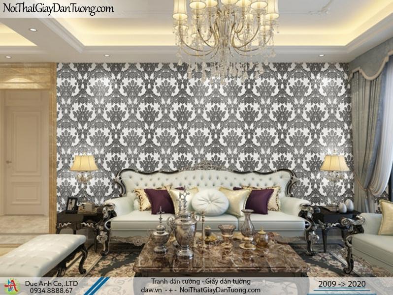 CASSIA |Giấy dán tường đen trắng, họa tiết cổ điển trắng đen | Giấy dán tường Cassia 8663-2