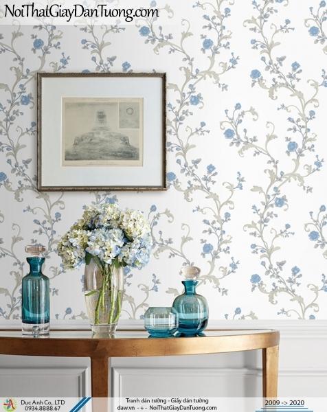 CASSIA | giấy dán tường hoa nhỏ dạng dây leo tường màu xanh | Giấy dán tường Cassia 8704-3