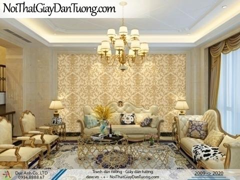 CASSIA   Giấy dán tường họa tiết bê tông màu vàng, giấy trơn gân sần nhám   Giấy dán tường Cassia 8662-2
