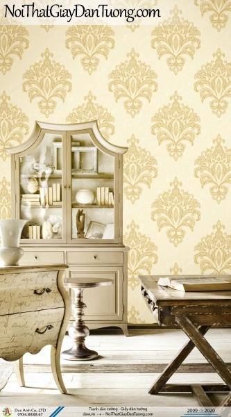 CASSIA | Giấy dán tường hoa văn lớn màu vàng, phong cách cổ điển | Giấy dán tường Cassia 8659-2