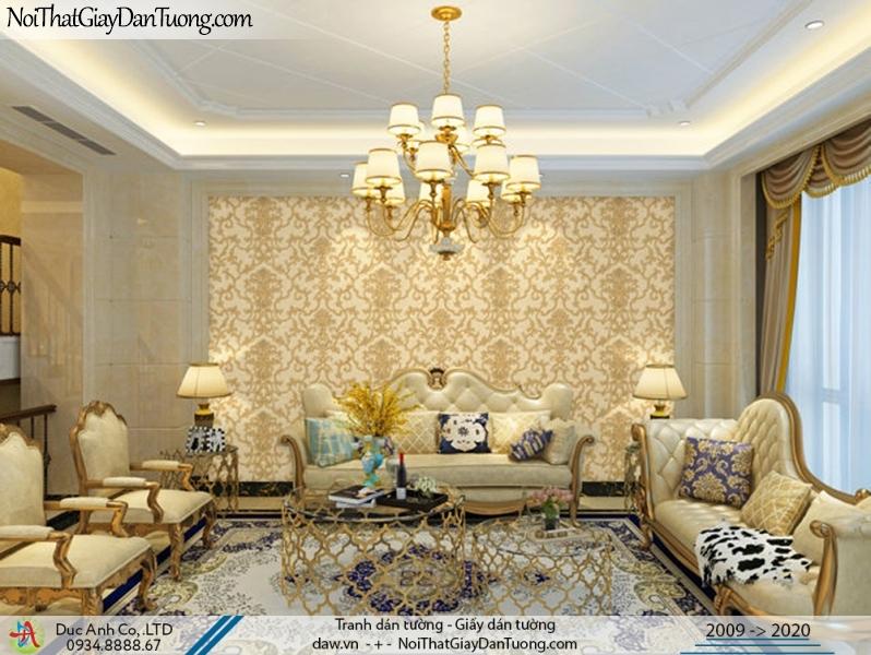 CASSIA | Giấy dán tường phòng khách, hoa văn lớn cổ điển màu vàng, sang trọng | Giấy dán tường Cassia 8661-2