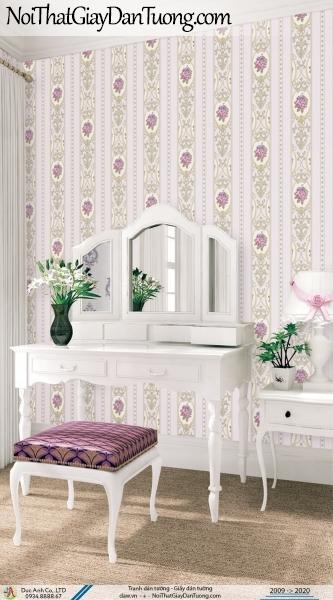 CASSIA | giấy dán tường phòng ngủ đẹp, dạng sọc bông hoa văn cổ điển màu tím | Giấy dán tường Cassia 8672-3