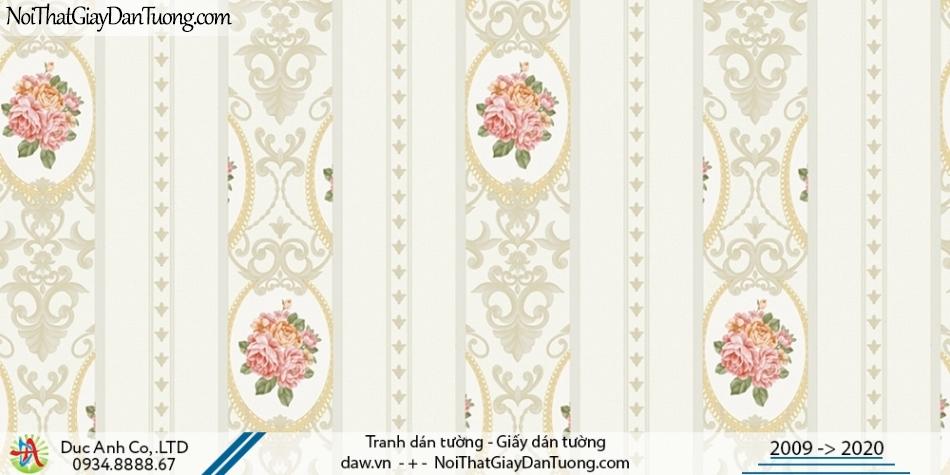 CASSIA | giấy dán tường phòng ngủ đẹp - họa tiết Châu Âu màu trắng sáng | Giấy dán tường Cassia 8672-1
