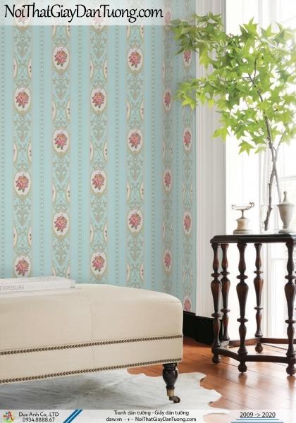 CASSIA | giấy dán tường phòng ngủ màu xanh lơ, xanh lam, sọc bông cổ điển đẹp | Giấy dán tường Cassia 8672-4
