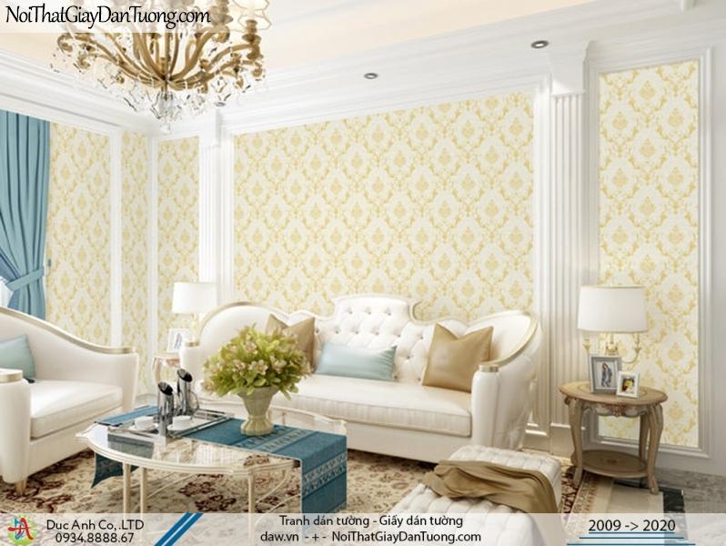 CASSIA | giấy dán tường sang trọng cho phòng khách, hoa văn họa tiết cổ điển màu vàng | Giấy dán tường Cassia 8701-2