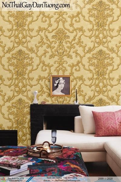 CASSIA |Giấy dán tường sang trọng, họa tiết cổ điển màu vàng | Giấy dán tường Cassia 8661-3