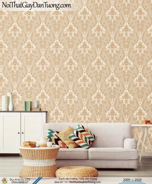 CASSIA | Phòng ngủ đẹp với giấy dán tường cổ điển màu vàng cam, họa tiết cổ điển Châu Âu sang trọng | Giấy dán tường Cassia 8670-3