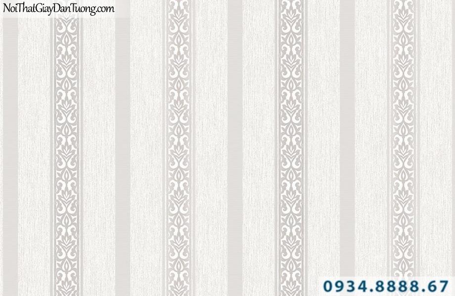 Giấy dán tường dạng sọc trắng xám | Giấy dán tường Lucky 14121