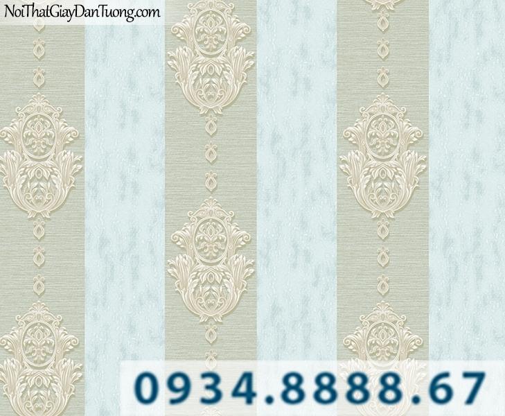 Giấy dán tường sọc bông màu xanh dương nhạt | Giấy dán tường Lucky 14044