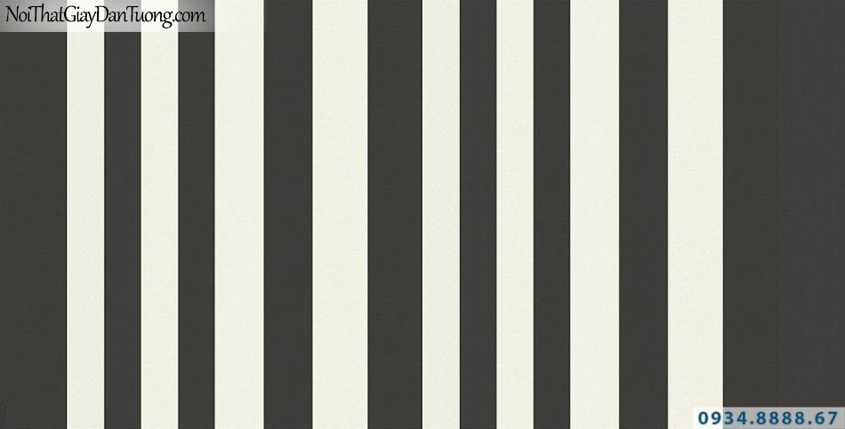 Giấy dán tường sọc đen trắng, giây dán tường sọc trắng đen, đen vàng nhạt | Giấy dán tường Lucky 15011