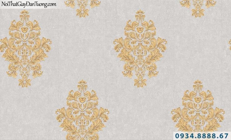 Giấy dán tường cổ điển bông màu vàng nền màu xám | Giấy dán tường GARDA 31024