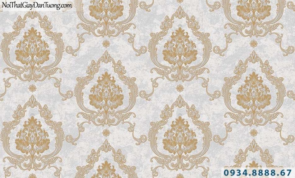 Giấy dán tường cổ điển màu xám, vàng nhạt, phong cách Châu Âu | Giấy dán tường GARDA 31041