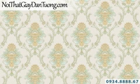 Giấy dán tường GARDA 29033   giấy dán tường hoa văn cổ điển màu vàng nhạt, nền màu trắng sữa