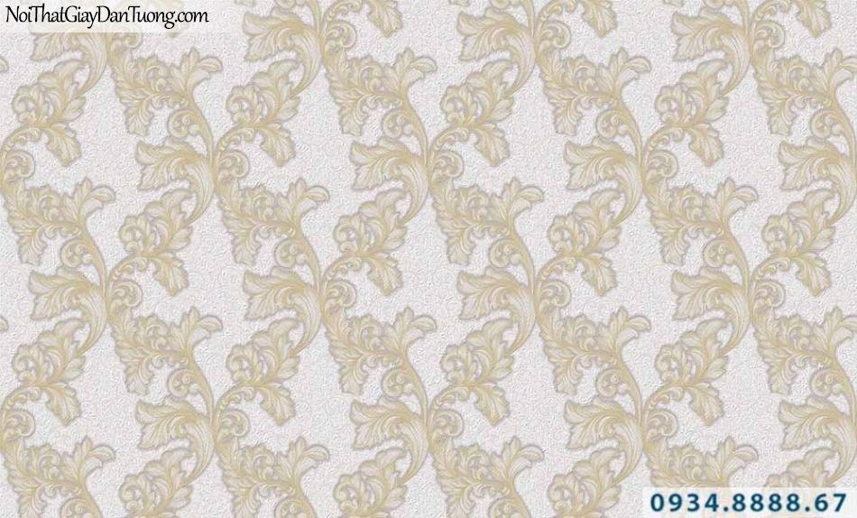 Giấy dán tường GARDA 29033 | giấy dán tường hoa văn cổ điển màu vàng nhạt, nền màu trắng sữa