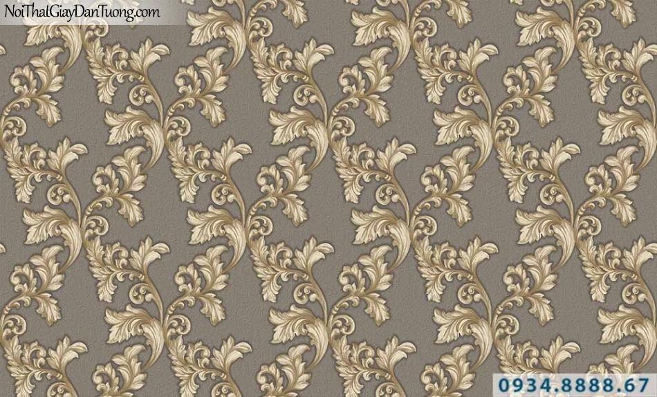 Giấy dán tường GARDA 29035 | giấy dán tường hoa văn cổ điển màu vàng nền màu xám