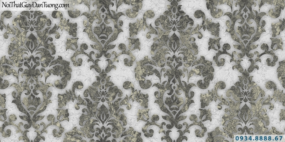 Giấy dán tường GARDA 3001 | Giấy dán tường hoa văn cổ điển Châu Âu màu xám, nền màu trắng sữa