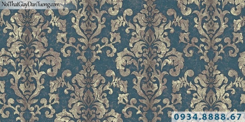 Giấy dán tường GARDA 3004 | Giấy dán tường hoa văn cổ điển màu xám vàng, nền màu xanh ngọc