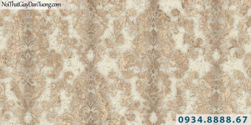 Giấy dán tường GARDA 3009 | Giấy dán tường hoa văn cổ điển màu vàng, hoa lớn