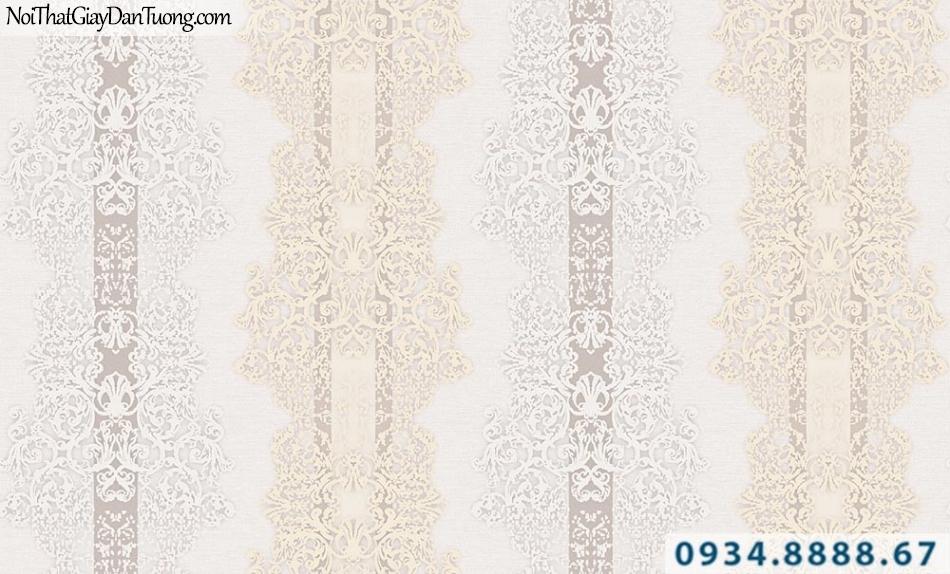 Giấy dán tường GARDA 3015 | giấy dán tường hoa văn sọc cổ điển màu vàng trắng