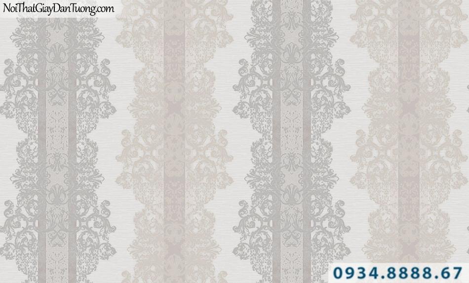 Giấy dán tường GARDA 3016 | giấy dán tường hoa văn cổ điển màu xám vàng