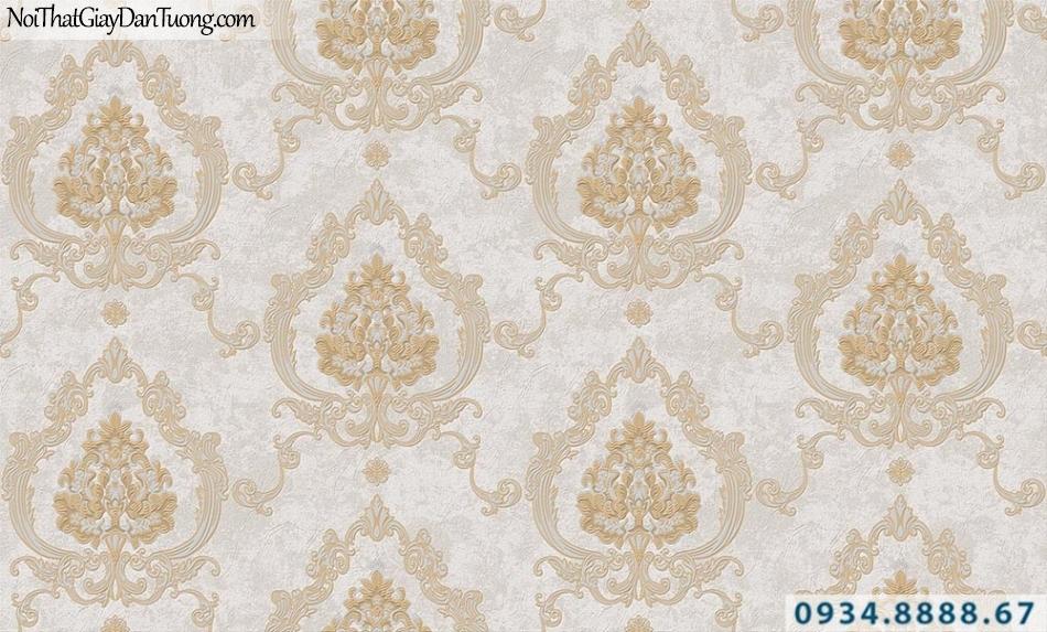 giấy dán tường hoa văn cổ điển màu xám vàng xám | Giấy dán tường GARDA 31042