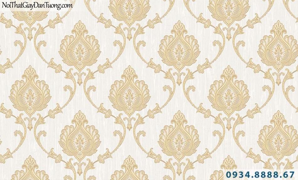 Giấy dán tường họa tiết cổ điển màu vàng nền kem | Giấy dán tường GARDA 31062