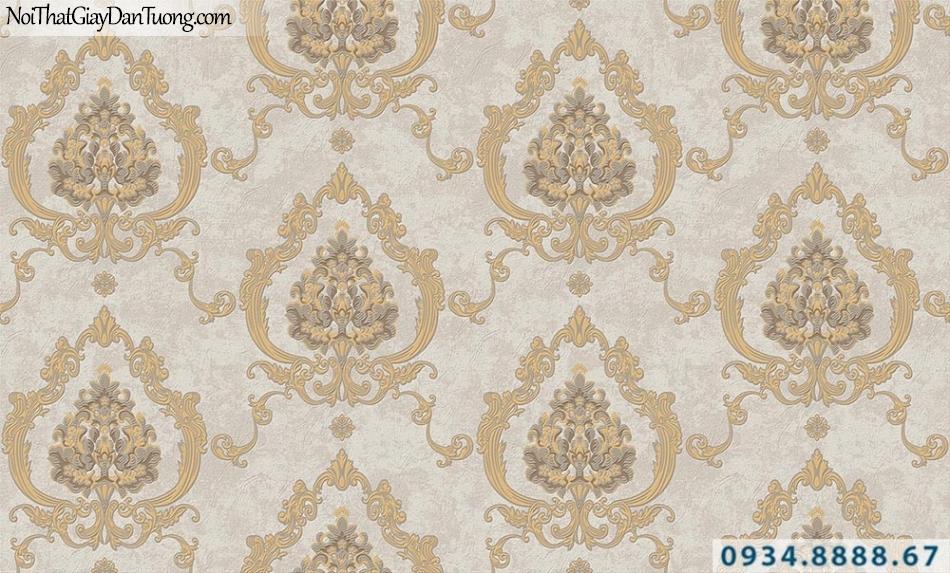 Giấy dán tường hoa văn cổ điển màu vàng | Giấy dán tường GARDA 31043